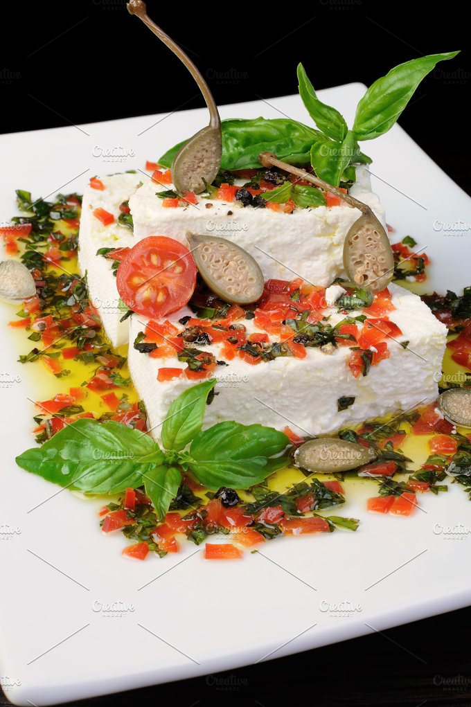 Feta cheese in oil with basil - Food & Drink