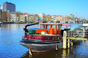 Houseboat on Amstel river,Amsterdam