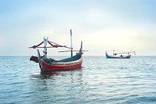 Traditional indonesian fishing boats