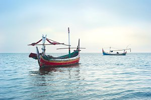 Traditional indonesian fishing boats