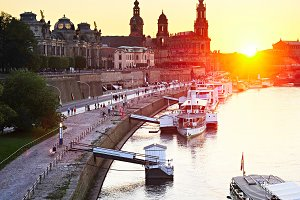 Downtown of Dresden at sunset