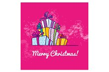 Boxes with gifts. Christmas card