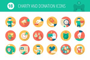 Charity and Donation Flat Icons