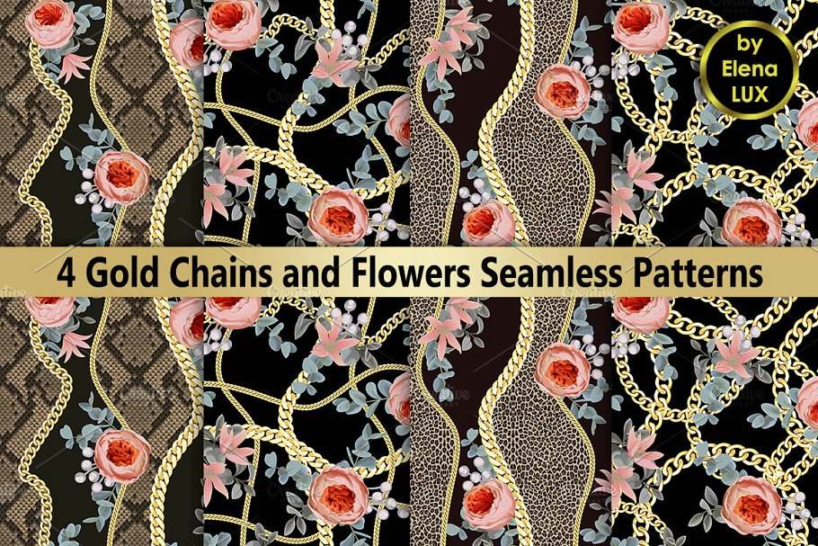 Chains and Flowers Seamless Set
