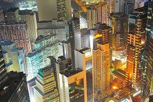 Density Hong Kong citycenter at nigt