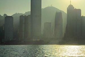 Silhouette of Hong Kong Downtown