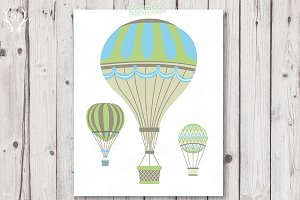 Vintage Hot Air Balloons Blue