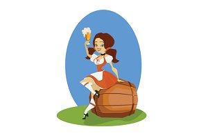 Beer girl in dirndl on keg