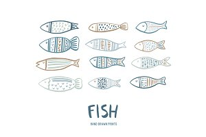 Hand drawn fish pattern, cards