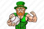 Leprechaun Holding Baseball Ball