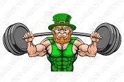 Leprechaun Mascot Weightlifter