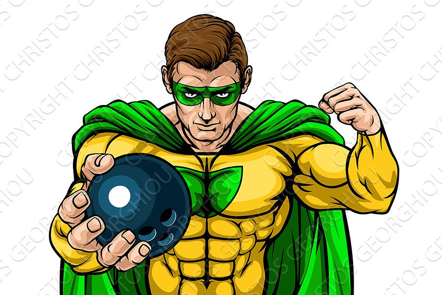 Superhero Holding Bowling Ball in Illustrations - product preview 8