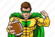Superhero Holding Football Ball