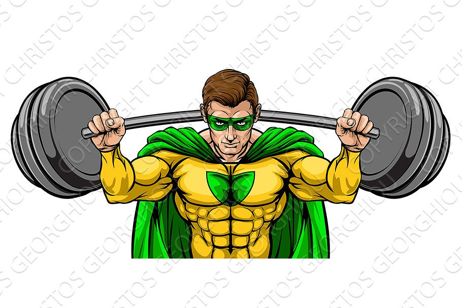 Superhero Mascot Weightlifter