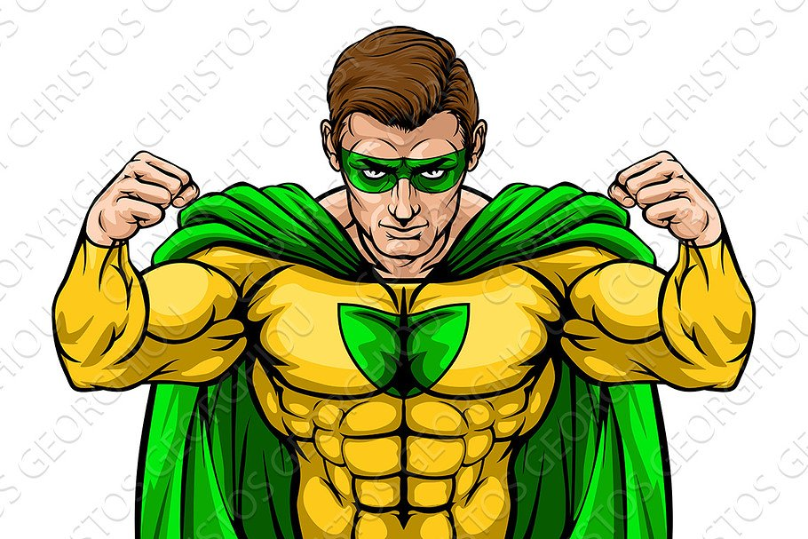 Superhero Cartoon Character in Illustrations - product preview 8