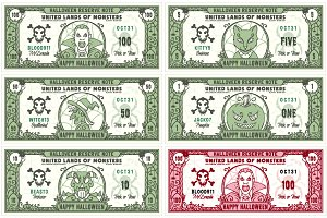 Halloween Money Banknotes Vector Set