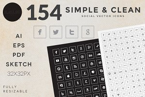 Social Icons - 154 Simple & Clean