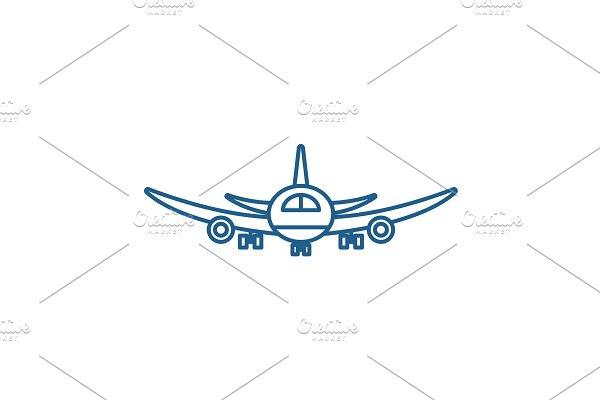 Airplane flight line icon concept