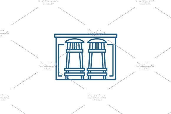 Bar counter line icon concept. Bar