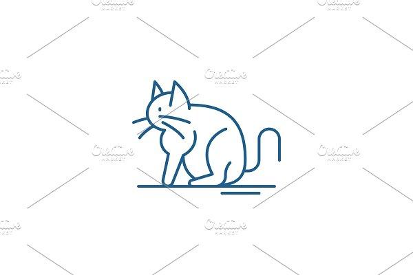 Cat line icon concept. Cat flat