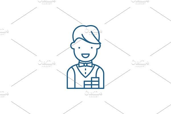 Croupier line icon concept. Croupier