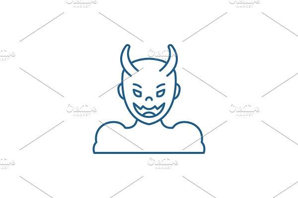 Devil line icon concept. Devil flat