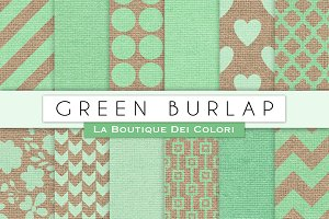 Green Burlap Digital Papers