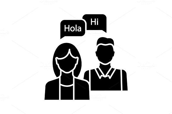 Language practice glyph icon