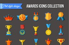 Set of flat trophy icons