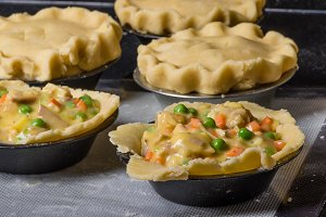 Turkey pot pies ready to bake
