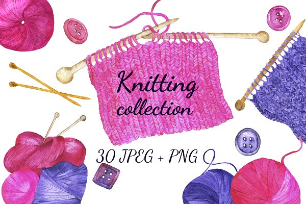 Knitting watercolor collection