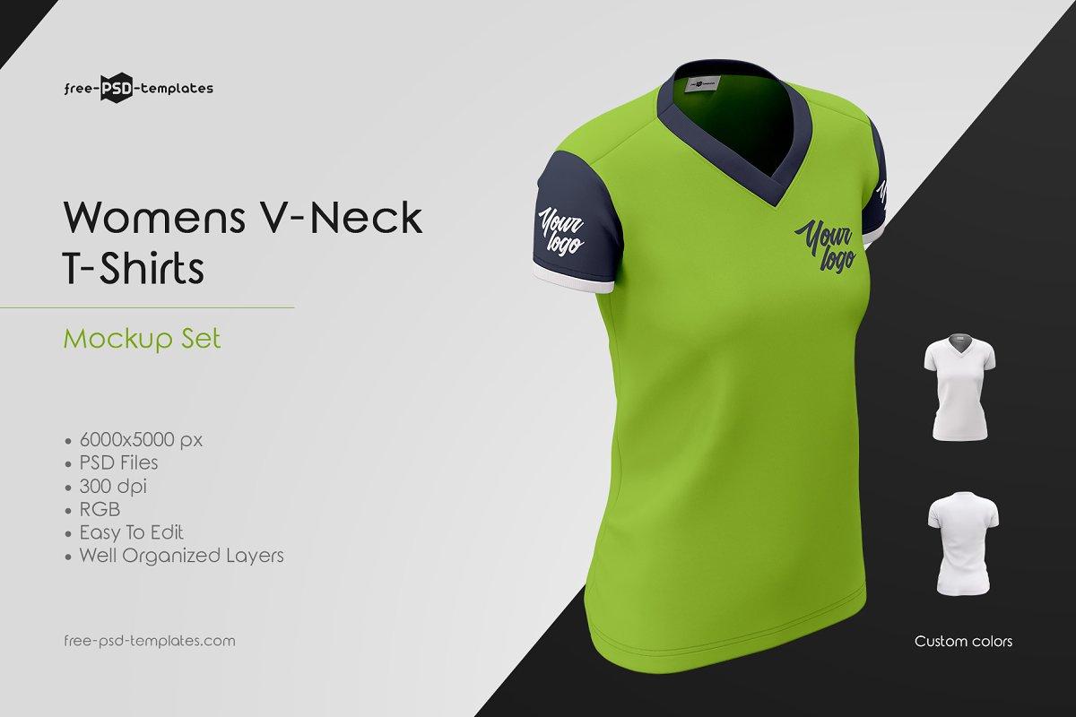 4af2ef28 Womens V-Neck T-Shirts MockUp Set ~ Branding Mockups ~ Creative Market