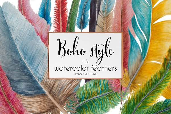 Boho style: watercolor feathers