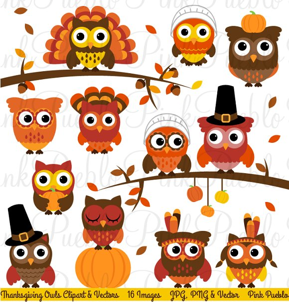 Thanksgiving Owl Clipart & Vectors ~ Illustrations ...