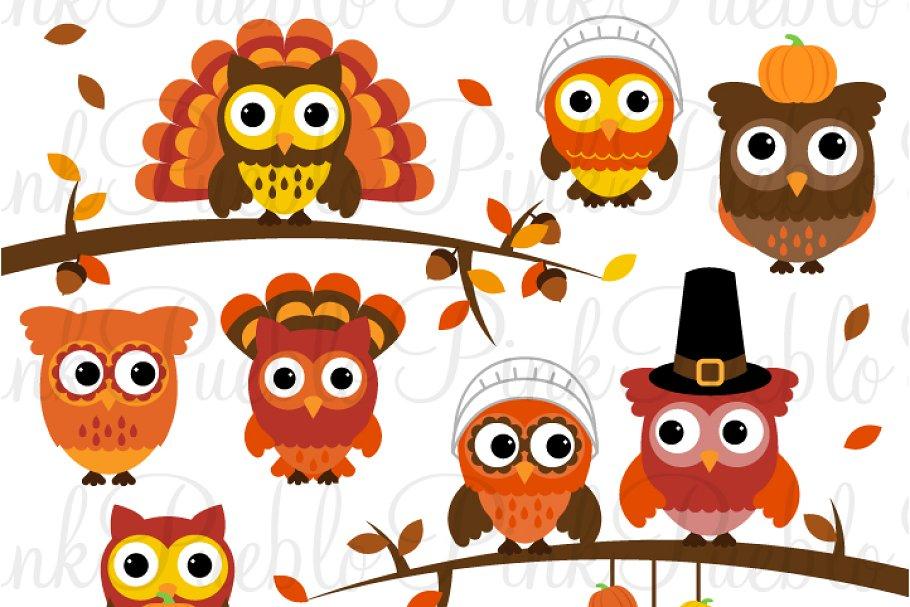 Thanksgiving owl. Clipart vectors
