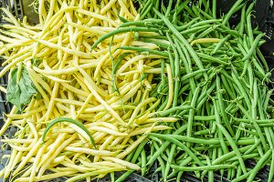 Green and yellow beans at market