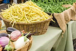 Yellow snap beans at market