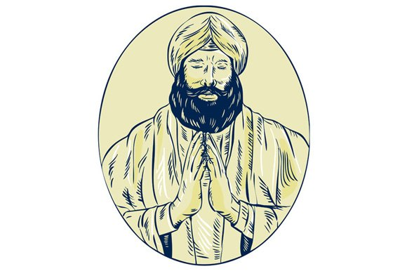 Sikh Priest Praying Front Oval Etchi