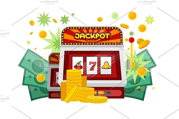 Slot Machine Web Banner Isolated on
