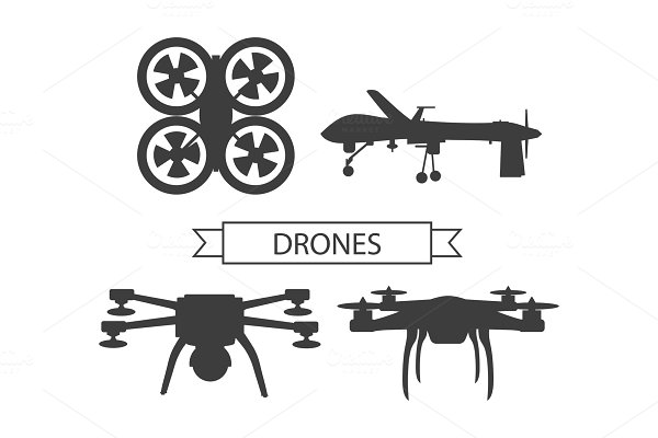 Set Drone Icons Isolated Unmanned