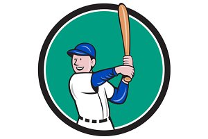 Baseball Player Batting Stance Circl