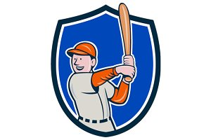 Baseball Player Batting Stance Crest