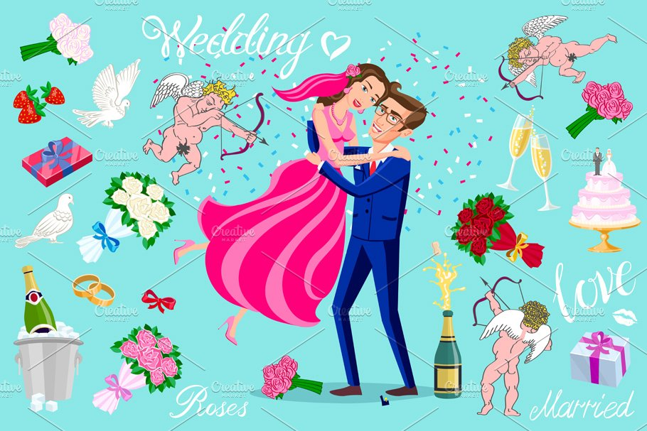 set vector Just married, newlyweds,