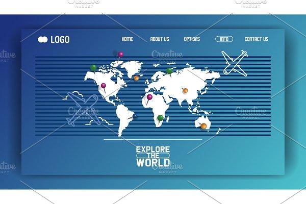 World map vector web-page aircraft