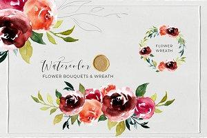 Watercolor Floral Frames & Bouquets