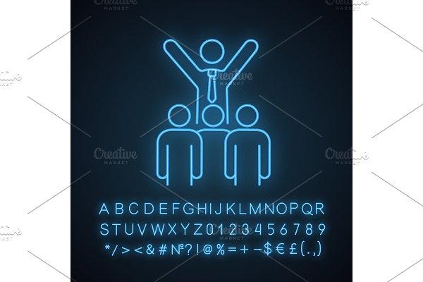 Leadership neon light icon