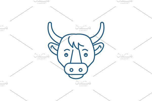 Funny cow line icon concept. Funny