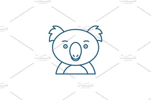Funny koala line icon concept. Funny