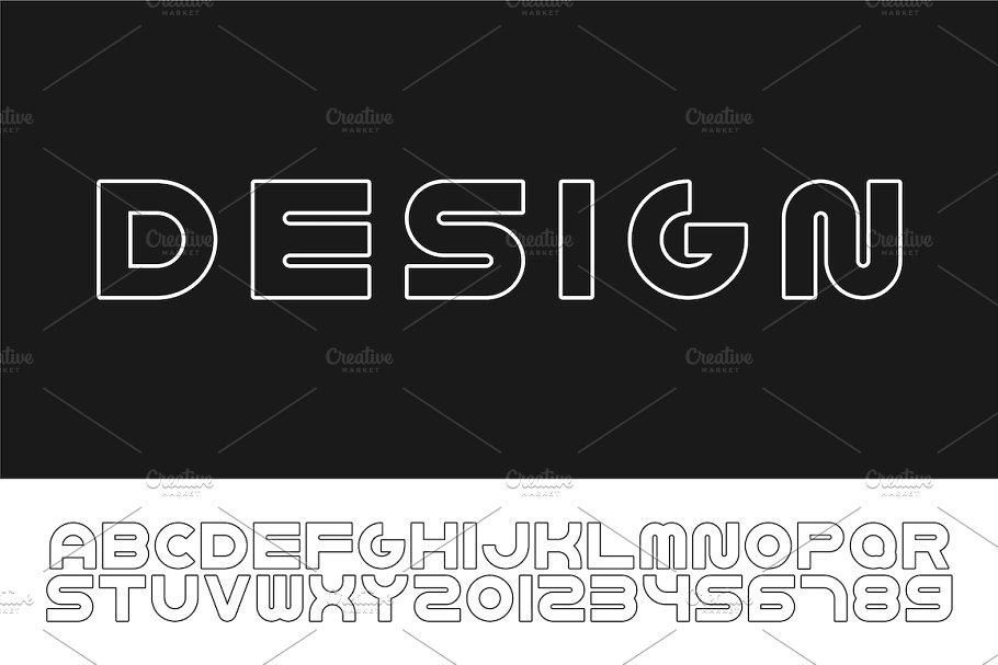 Bold contour english modern alphabet