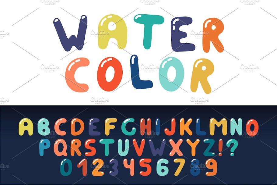 Colorful hand drawn english alphabet
